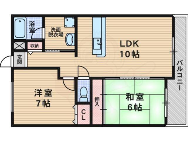 下新庄 サンガーデン 204号室 2LDKの間取り図1