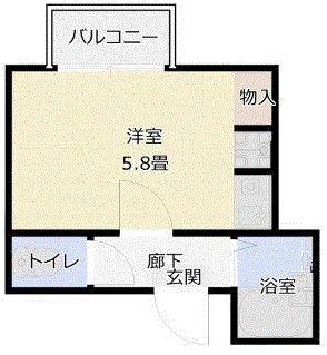 マンションアール1Rの間取り図2