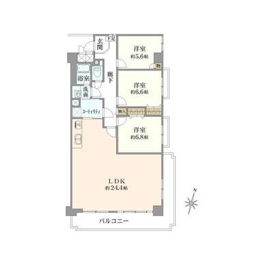 香里ケ丘グランドハイツ 5階 3LDKの間取り図1